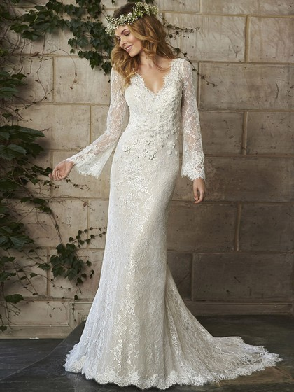 Trumpet/Mermaid V-neck Ivory Open Back Lace Long Sleeve Wedding Dress