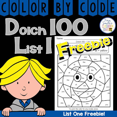 Color By Code Dolch 100 List One Freebie By Fern Smith's Classroom Ideas.