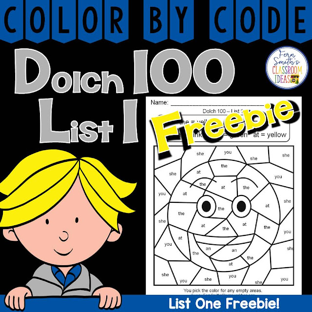 For Your Classroom ~ Fern's Freebie Friday ~ Color By Code Dolch 100 List One Freebie at Fern Smith's Classroom Ideas Freebie Friday Blog Post!