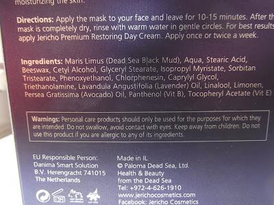 Jericho Premium čistiaca bahenná maska pre všetky typy pleti zloženie