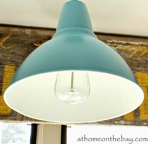 Ikea Lamp Makeover with Blue Paint