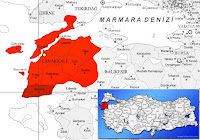 Çanakkale Ayvacık ilçesinin nerede olduğunu gösteren harita