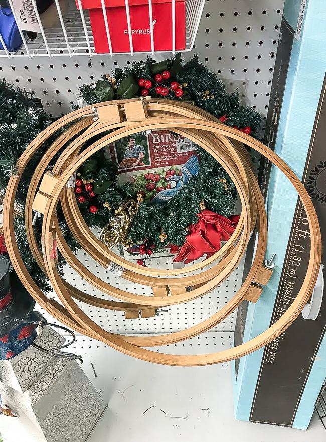 Quilt hoop wreaths at Goodwill