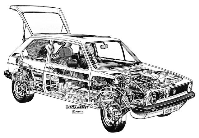 Vw Golf Mk1 Cutaway    Ghostview Drawing