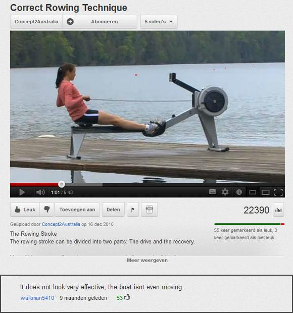 Youtube rowing comment