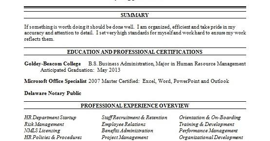 human resource generalist sample resume format in word