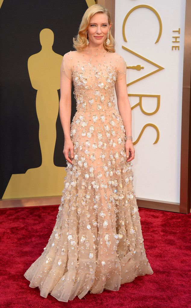 Cate Blanchett in a floral Giorgio Armani gown at the Oscars 2014
