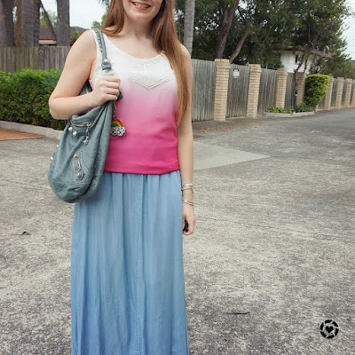 awayfromtheblue instagram ombre embellished tank pink and chambray denim maxi skirt balenciaga day bag