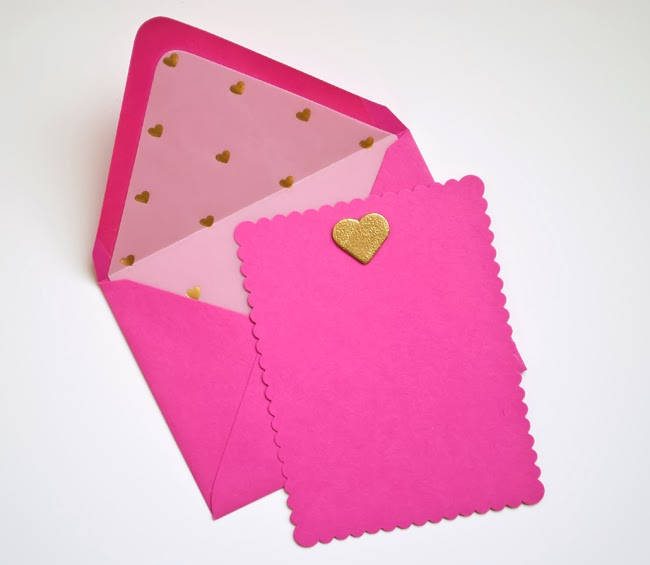 I Make I Talk    Gold Heart on Fuchsia Card