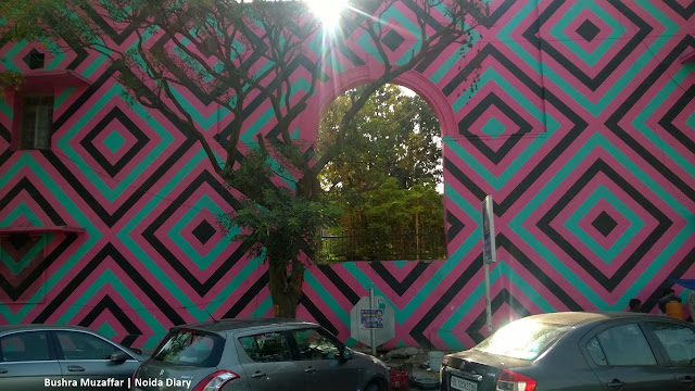 Noida Diary: Abstract Painting by Australian Street Artist Reko Rennie on the Street Facing Meharchand Market