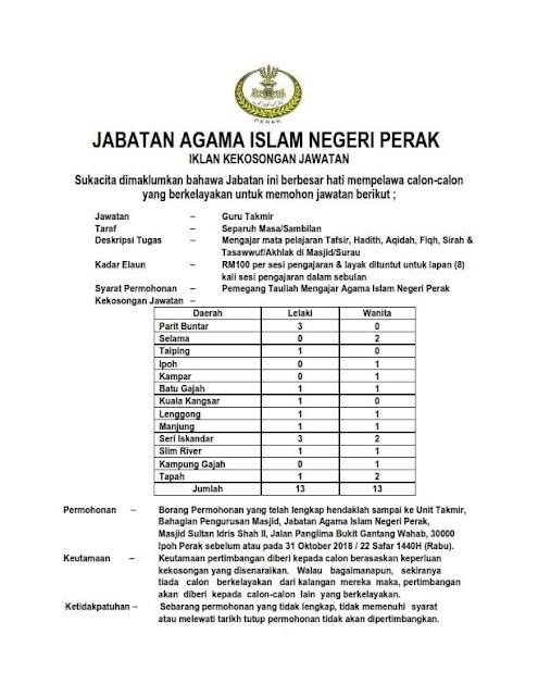 Iklan Kekosongan Jawatan Guru Takmir (26 Kekosongan)