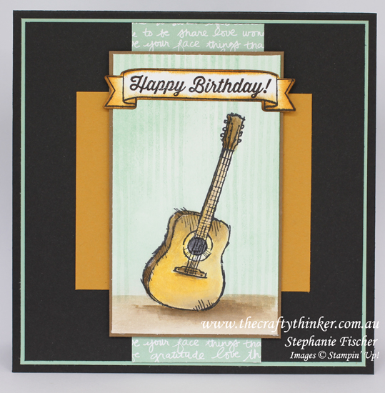 Stampin Up, #thecraftythinker, Country Livin', Guitar card, Layered card, Stampin Up Australia Demonstrator