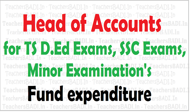 Head of Accounts, TS D.Ed, SSC, Minor Exams Fund expenditure