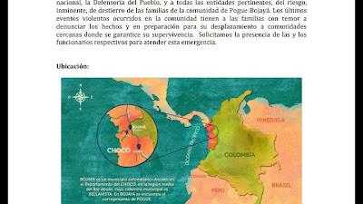 Alertan sobre un nuevo caso de desplazamiento en la comunidad de Pogue en Bojayá
