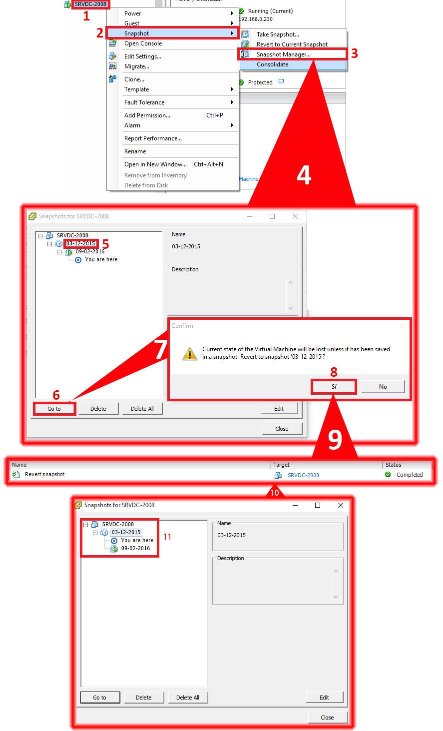 how to delete vmware snapshot manually