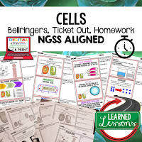 Cells, LIFE SCIENCE Warm Ups & Bell Ringers, LIFE SCIENCE Use Ticket Out, Homework NGSS 6-8 Science, Print and Digital