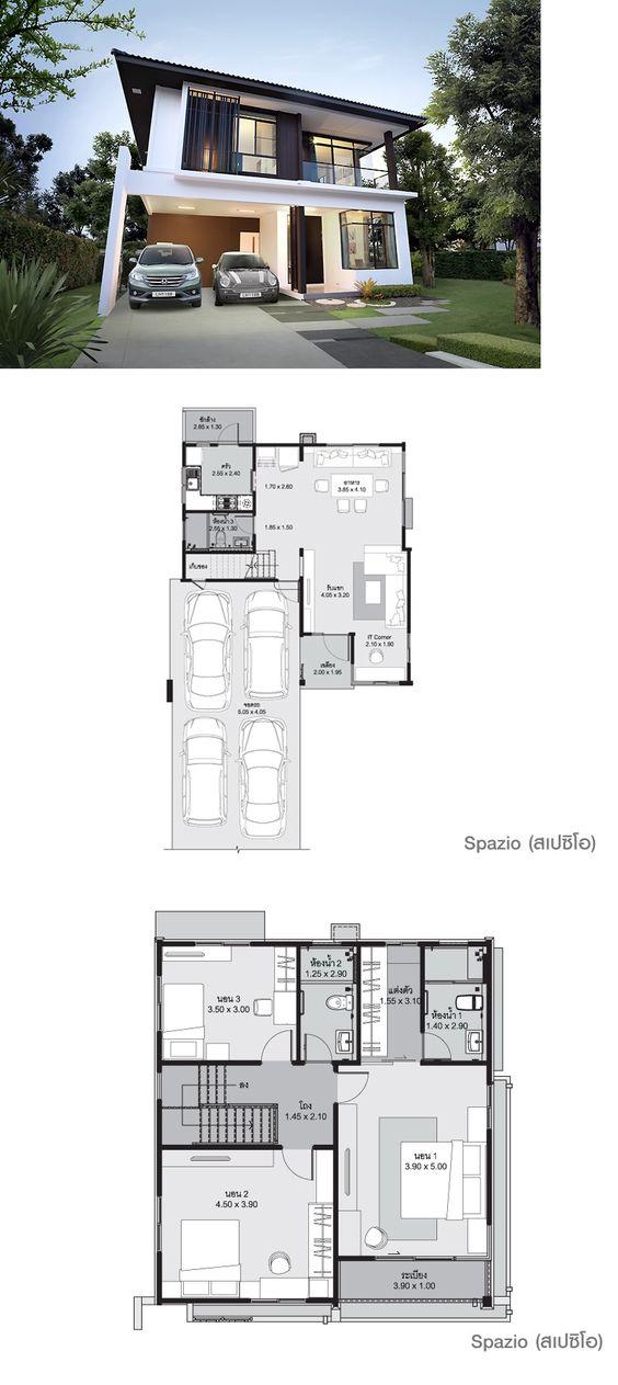 แบบบ้านสองชั้น โมเดิร์น 3 ห้องนอน สวยทันสมัย