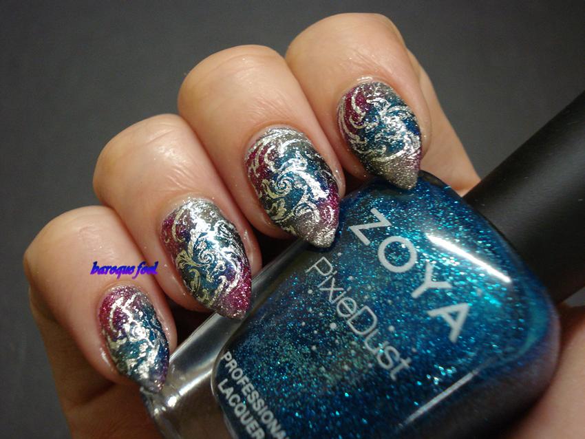 baroque fool: TUTORIAL: Glitter mesh nail art