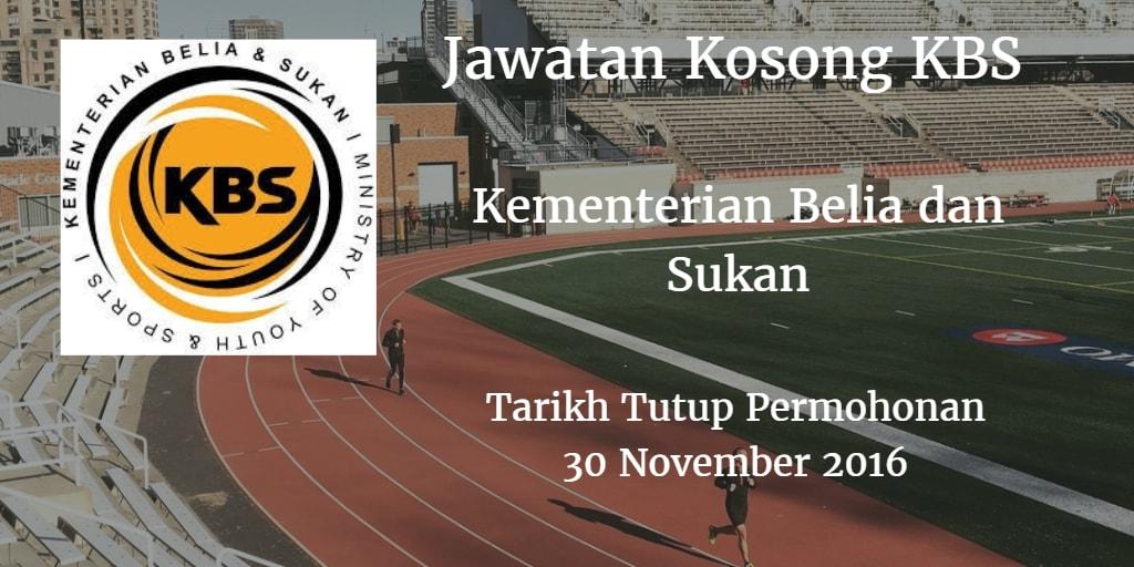 Jawatan Kosong KBS 30 November 2016
