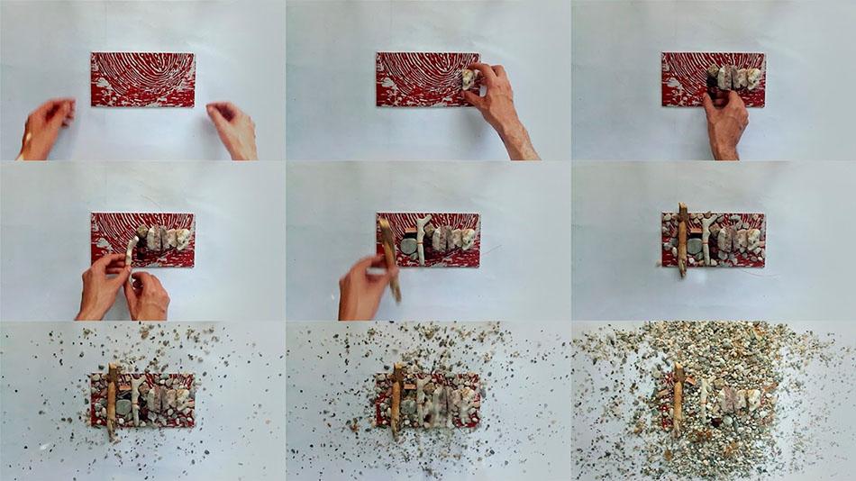 fotogramas de video con organización de piedras sobre huella roja
