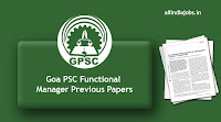 Goa PSC Functional Manager Previous Papers