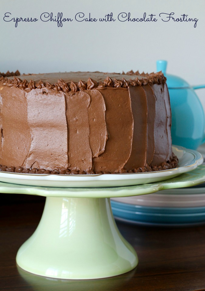 This Espresso Chiffon Cake with Chocolate Buttercream Frosting is both light from the chiffon layers, and rich from the fudge buttercream.