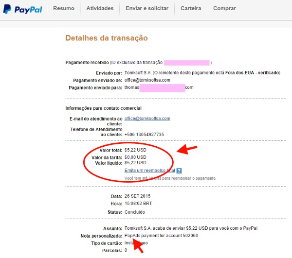 PayPal pagamento PopAds