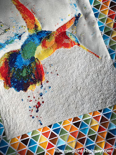 Seed stitch quilting on cross stitch hummingbird project
