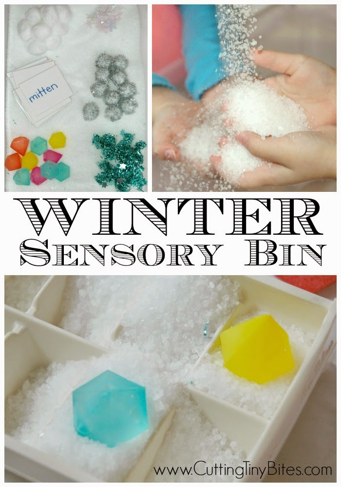 Winter Sensory Bin. Great snowy, sensory fun for when you're stuck inside during cold weather! Great for toddlers, preschoolers, or older children.