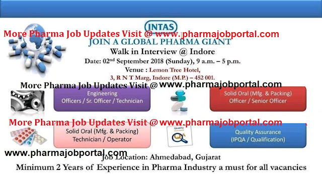Intas Pharma  Walk In Interview for Multiple Openings at 2 September
