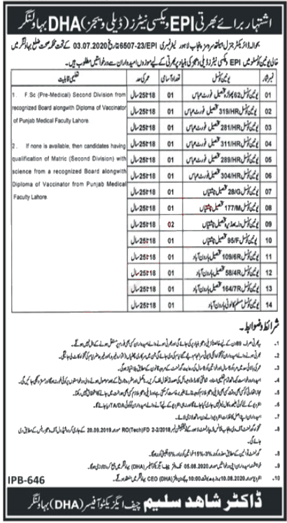 District Health Authority Bahawalnagar Jobs 2020 Latest Advertisement