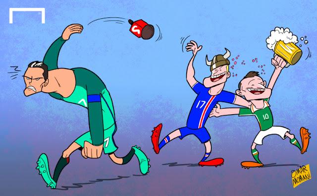Robbie Keane, Aron Gunnarsson, Cristiano Ronaldo cartoon