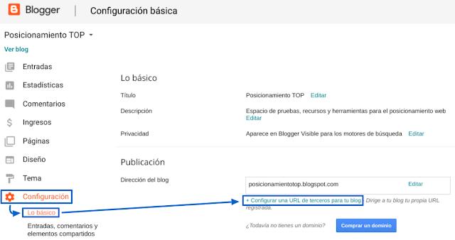 Configuración del dominio .top en blogger