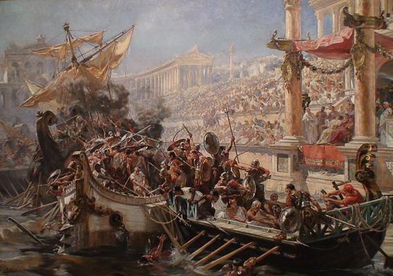 """Cuadro """"La naumaquia"""" de Ulpiano Checa. El Coliseo de Roma"""