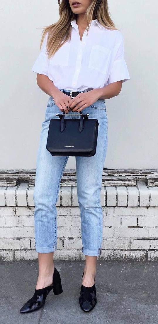 street style outfit idea: shirt + jeans + bag