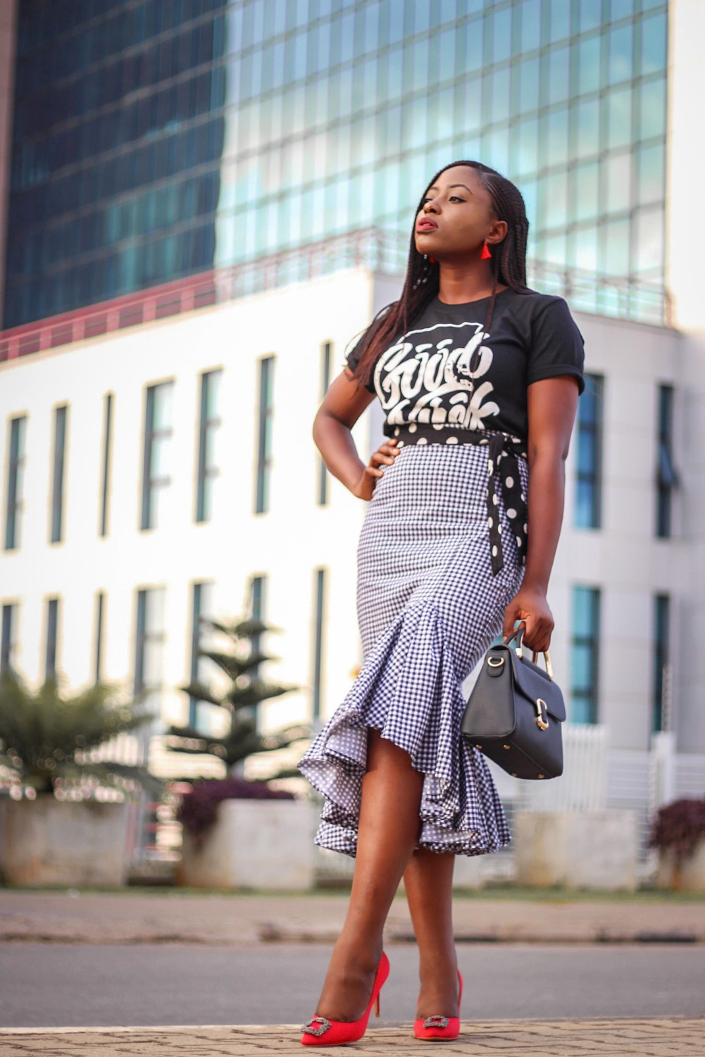 Gingham waterfall skirt and black graphic T-shirt