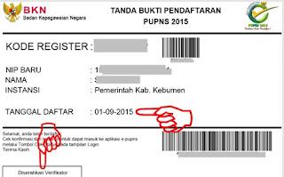 Tanda Bukti Registrasi PUPNS 2015