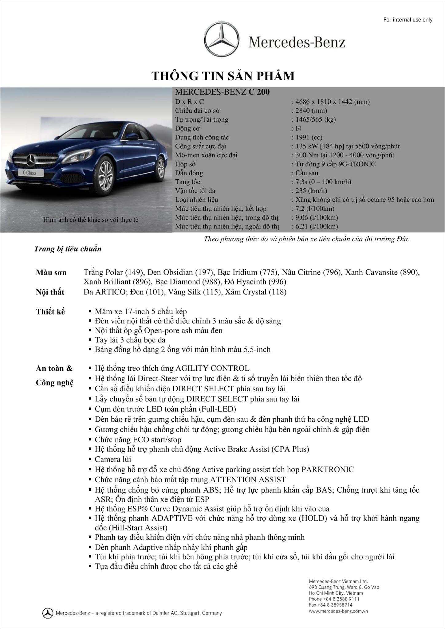 Bảng thông số kỹ thuật Mercedes C200 2017 tại Mercedes Trường Chinh
