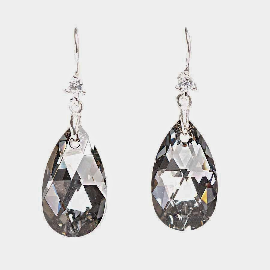 Swarovski crystal almond shaped drop earrings in grey, grey crystal earrings