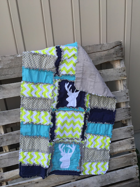 Deer Head Silhouette Rag Quilt by A Vision to Remember for a Baby Quilt