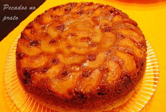 Receita de bolo de maçã com framboesa