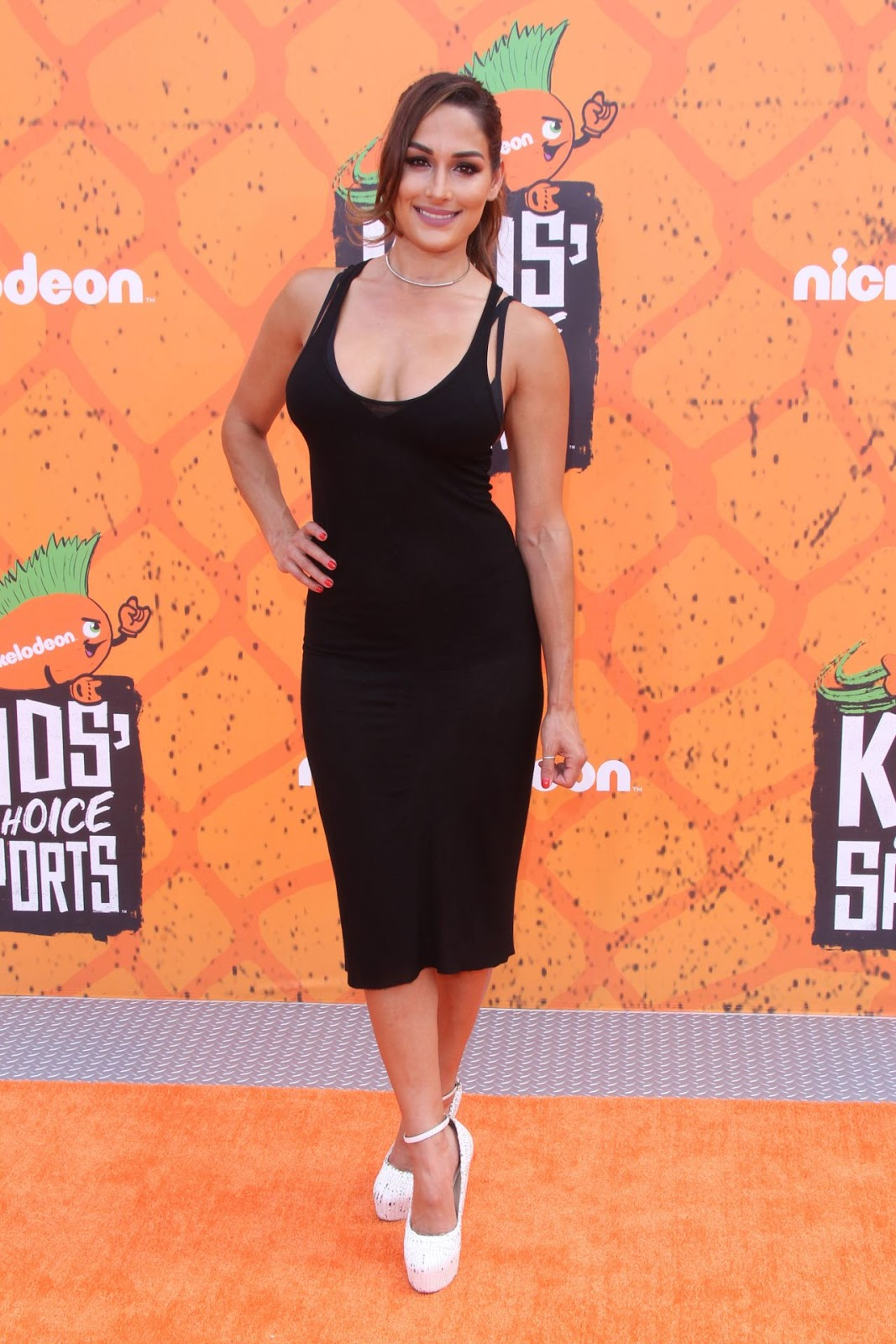 Nikki Bella wears sheer dress to the Nickelodeon Kids' Choice Sports Awards 2016