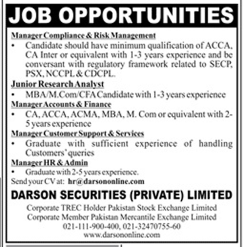 Jobs in Darson Securities Pvt Limited 24 November 2017