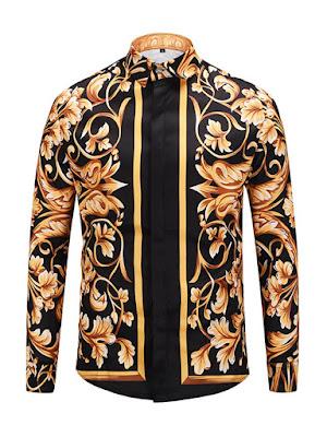 Dashiki Lapel Flower Print Long Sleeve Color Block Men's Shirt