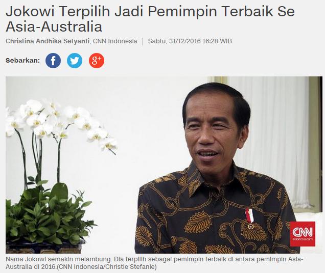 """CNN Indonesia, """"Jokowi Terpilih Jadi Pemimpin Terbaik Se Australia-Asia"""""""
