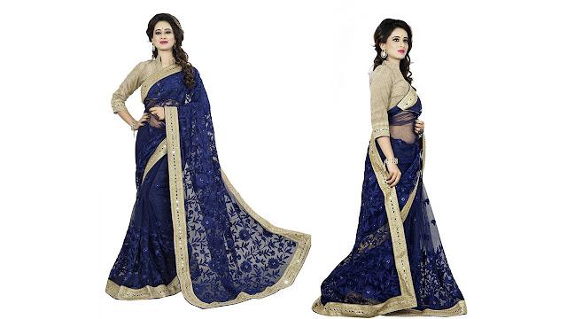 Rola Trendz Embroidered, Self Design Fashion Net Saree  (Blue)