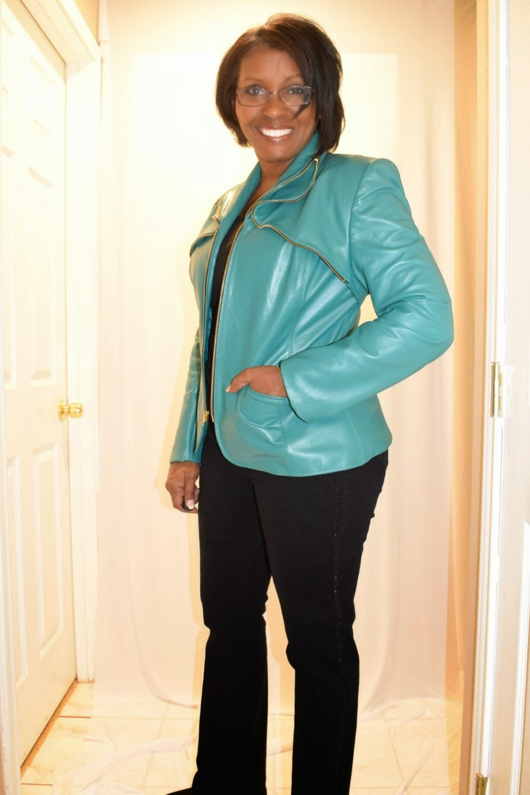 Teal, green lambskin leather jacket with zippers by sewtofit.com Sewing with leather.