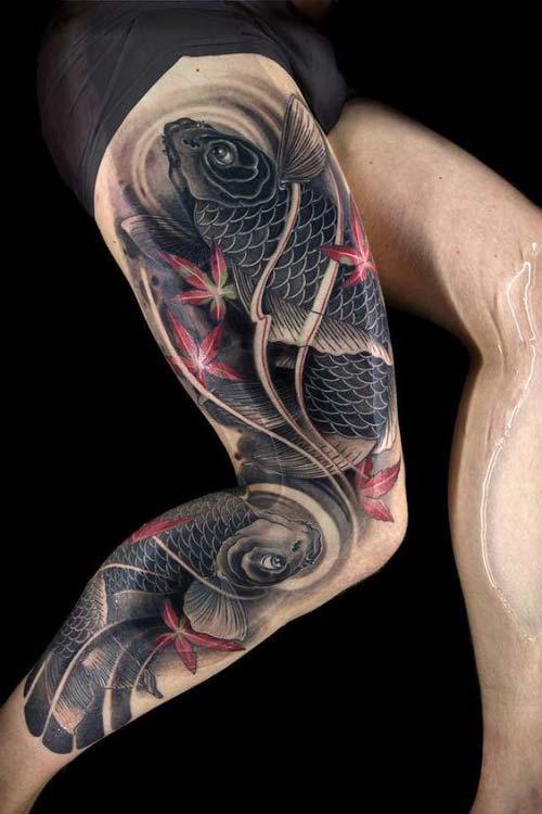 koi fish tattoos on leg  koi balığı dövmeleri