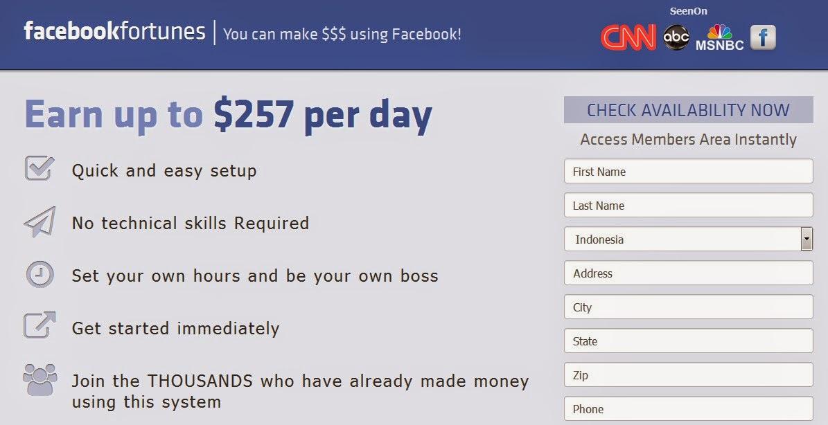 Facebook Fortune Penipuan