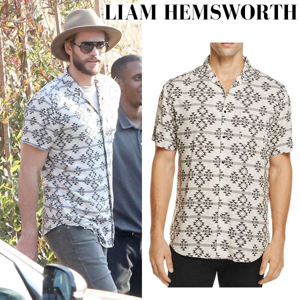 liam hemsworth tribal print shirt summer street style celebrity men fashion july 2017